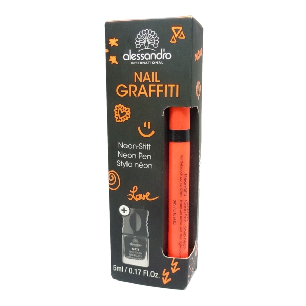 Alessandro International Nail Graffiti Neon Stift Orange Nagel Lack Polish Set