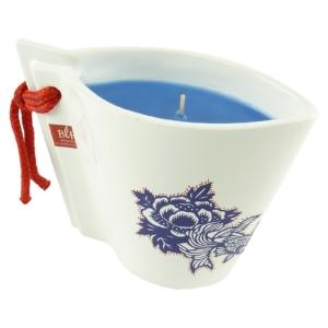 Bougies La Francaise Duft Kerze Bords de Mer in weißer Keramikvase 13x18x6,5cm