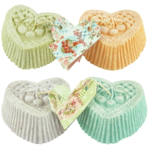 Bougies La Francaise The Little Fabric Cupcake Herz - MULTIPACK 4x170 Gramm