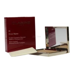Clarins Ever Matte Shine Control Mineral Powder - Make Up Kompakt Puder 10g - 03 transparent warm
