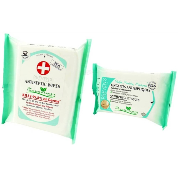 Preven's Paris Antiseptische Feuchttücher Hygiene Big Pack + Pocket Multipack - 2-Pack
