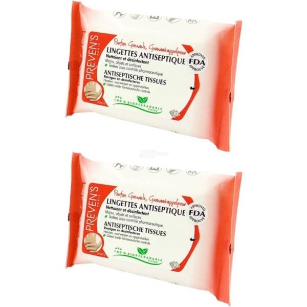 Preven's Paris - Antiseptische Feuchttücher - Granatapfel - Desinfektion - Bio - 2-Pack