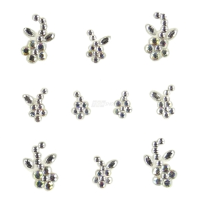 YOU Nails Nail Art Tattoo Design Nagel Aufkleber 3D Maniküre 1 Bogen 10 Sticker - Flowers - white