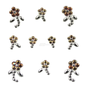 YOU Nails Nail Art Tattoo Design Nagel Aufkleber 3D Maniküre 1 Bogen 10 Sticker - Flowers - white / gold