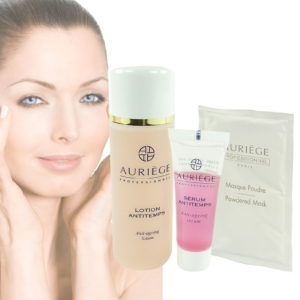 Auriege Paris Anti Aging 3-teiliges Pflege Set - Serum + Lotion + Puder Maske