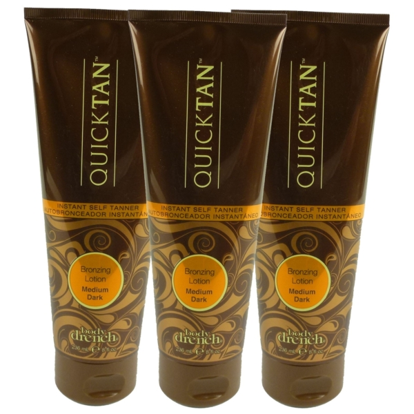 Body Drench Quick Tan Bronzing Lotion Medium Dark Körper Bräunung Creme Lotion - Multipack 3x236ml