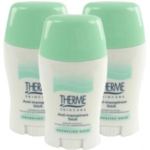 Therme Skincare Anti Transpirant Stick - Deodorant ohne Alkohol MULTIPACK 3x50g