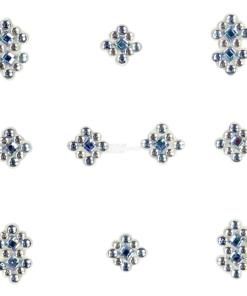 YOU Nails Nail Art Tattoo Design Nagel Aufkleber 3D Maniküre 1 Bogen 10 Sticker - Ornaments - white / blue