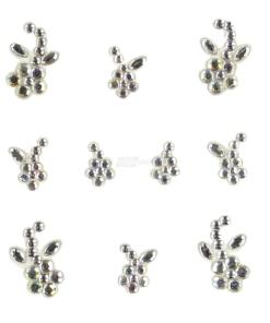 YOU Nails Nail Art Tattoo Design Nagel Aufkleber 3D Maniküre 1 Bogen 10 Sticker - Flowers - white